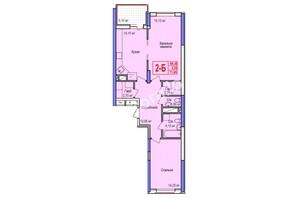 ЖК Аврора: планування 2-кімнатної квартири 72.4 м²
