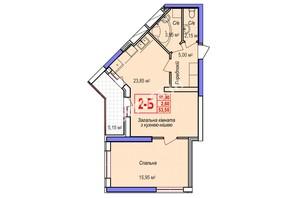 ЖК Аврора: планування 2-кімнатної квартири 53.55 м²