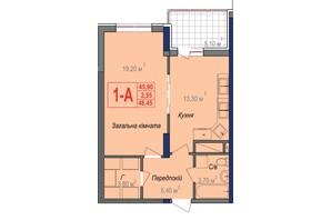 ЖК Аврора: планування 1-кімнатної квартири 48.45 м²