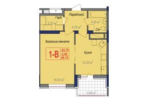 ЖК Аврора: планування 1-кімнатної квартири 46.15 м²