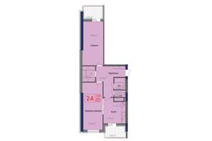 ЖК Аврора: планування 2-кімнатної квартири 78.35 м²