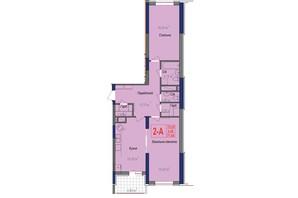 ЖК Аврора: планування 2-кімнатної квартири 77.65 м²