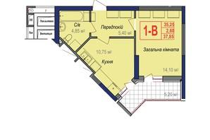 ЖК Аврора: планування 1-кімнатної квартири 37.85 м²