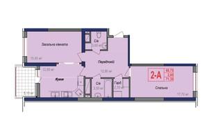 ЖК Аврора: планування 2-кімнатної квартири 71.35 м²