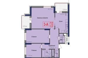 ЖК Аврора: планування 3-кімнатної квартири 91.95 м²