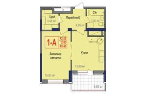 ЖК Аврора: планування 1-кімнатної квартири 45.4 м²