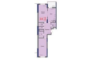 ЖК Аврора: планування 2-кімнатної квартири 75.9 м²