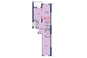 ЖК Аврора: планування 2-кімнатної квартири 74.65 м²