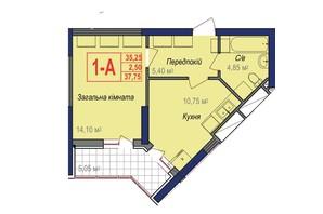 ЖК Аврора: планування 1-кімнатної квартири 37.75 м²