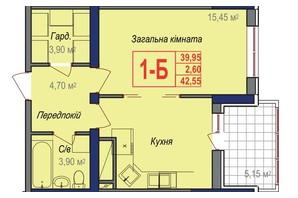 ЖК Аврора: планування 1-кімнатної квартири 42.55 м²