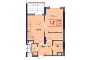 ЖК Аврора: планировка 1-комнатной квартиры 46.5 м²
