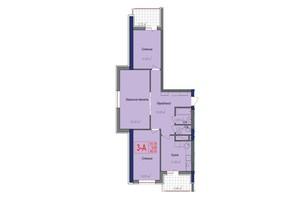 ЖК Аврора: планировка 3-комнатной квартиры 86.75 м²