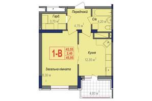 ЖК Аврора: планировка 1-комнатной квартиры 45.95 м²