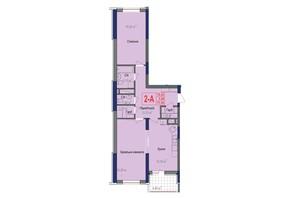 ЖК Аврора: планировка 2-комнатной квартиры 77.65 м²