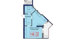 ЖК Аврора: планировка 1-комнатной квартиры 38 м²