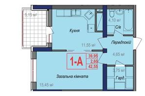 ЖК Аврора: планировка 1-комнатной квартиры 42.55 м²