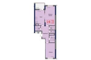 ЖК Аврора: планировка 2-комнатной квартиры 72.4 м²