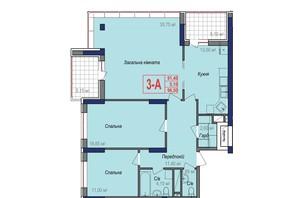 ЖК Аврора: планировка 3-комнатной квартиры 96.5 м²