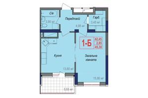 ЖК Аврора: планировка 1-комнатной квартиры 45.3 м²