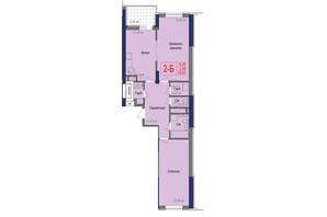 ЖК Аврора: планировка 2-комнатной квартиры 74.65 м²