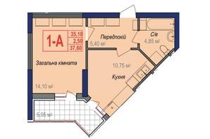 ЖК Аврора: планировка 1-комнатной квартиры 37.6 м²