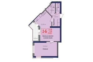 ЖК Аврора: планировка 2-комнатной квартиры 53.55 м²