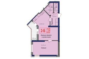 ЖК Аврора: планировка 2-комнатной квартиры 55.5 м²