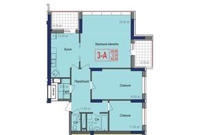 ЖК Аврора: планировка 3-комнатной квартиры 95.05 м²
