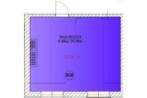 ЖК Австрійський: планування 1-кімнатної квартири 34.29 м²