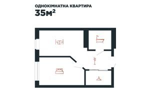 ЖК Авторський: планування 1-кімнатної квартири 35 м²