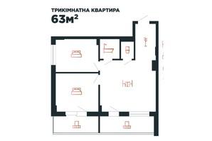 ЖК Авторский: планировка 3-комнатной квартиры 64 м²