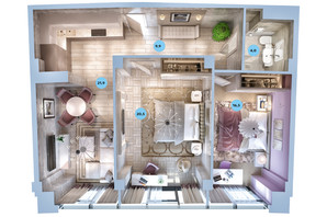 ЖК Авторський район: планування 2-кімнатної квартири 66.7 м²