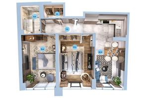 ЖК Авторский район: планировка 2-комнатной квартиры 68.73 м²