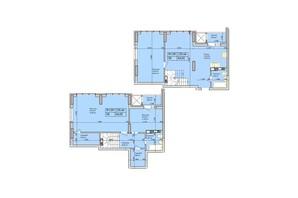 ЖК Багговутівській: планування 3-кімнатної квартири 129.44 м²