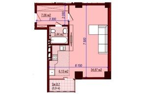 ЖК Баку: планировка 1-комнатной квартиры 47 м²