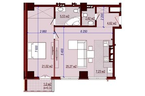 ЖК Баку: свободная планировка квартиры 68 м²