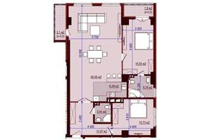 ЖК Баку: свободная планировка квартиры 112 м²