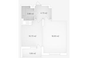 ЖК Банківський 2: планування 1-кімнатної квартири 37.05 м²