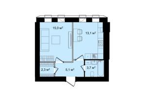 ЖК Barbara: планування 1-кімнатної квартири 39.2 м²