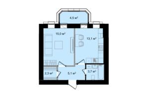 ЖК Barbara: планування 1-кімнатної квартири 43.7 м²