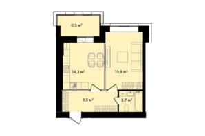 ЖК Barbara: планування 1-кімнатної квартири 48.7 м²