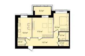 ЖК Barbara: планировка 2-комнатной квартиры 69.4 м²
