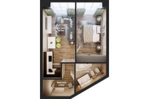 ЖК Bartolomeo Resort Town: планировка 1-комнатной квартиры 45.89 м²