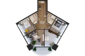 ЖК Bartolomeo Resort Town: планування 3-кімнатної квартири 94.08 м²