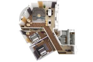 ЖК Bartolomeo Resort Town: планування 3-кімнатної квартири 110.03 м²