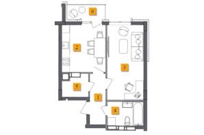 ЖК Basa City: планировка 1-комнатной квартиры 42.3 м²
