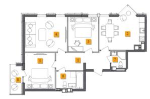 ЖК Basa City: планировка 3-комнатной квартиры 79.35 м²