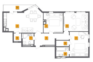 ЖК Basa City: планировка 3-комнатной квартиры 109.26 м²