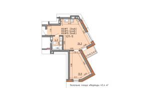 ЖК Басів схил: планування 1-кімнатної квартири 45.4 м²