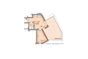 ЖК Басів схил: планування 1-кімнатної квартири 56.4 м²